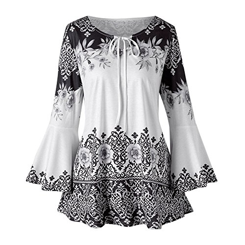 Milano Design Box (QingJiu Fashion Womens Plus Size Printed Flare Sleeve Tops Blouses Keyhole T-Shirts Übergröße)
