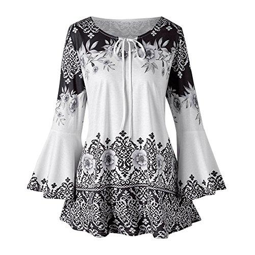 QingJiu Fashion Womens Plus Size Printed Flare Sleeve Tops Blouses Keyhole T-Shirts ()