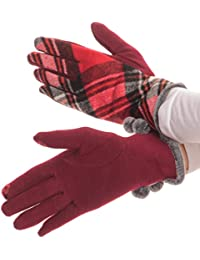 Sakkas Valy klassischen Winter Checker Patterned-Pelz-Pom Pom Screen-Handschuhe