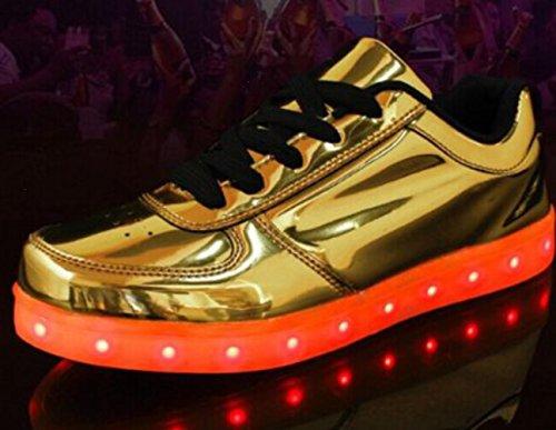 [Présents:petite serviette]JUNGLEST 7 Couleur Mode Unisexe Homme Femme USB Charge LED Lumière Lumineux Clignotants Chaussures de marche Ch Doré