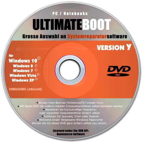 Ultimate Boot & Repair CD/DVD✔ Windows 10 / 8 / 7 / XP✔ Bootfähig✔ Notfall CD✔ System-Diagnose Software✔ Alle PCs & Notebooks✔ (Windows Boot)