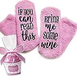 Pinke Wein Socken If You can read this bring me some wine Lustige Socken Geschenk für Frauen - Für Weinliebhaber, Geburtstagsgeschenk für Frauen, Wein-Zubehör, Geschenke für Freundin, Mitbringsel