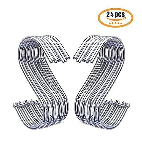 Meilleur en forme de S Crochets de type S Crochets ronds très résistant en acier inoxydable pour suspendre Sacs de pots de poêles Serviettes etc. pour salle de bain Chambre à coucher Bureau et de cuisine, 24P