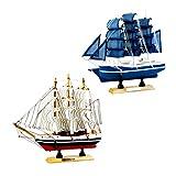 Fenteer 2pcs Modellschiff Segelschiff Segelyacht Yacht Schiffsmodell Schiff