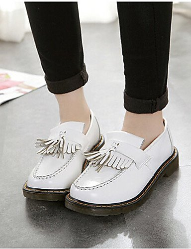 Shangyi Gyht Femmes Chaussures Faux Cuir Plat Bout Arrondi Mocassins Casual Noir / Blanc / Bourgogne Blanc