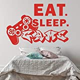 Eat Sleep Game Wandaufkleber Playstation Boy Room Eat Sleep Game Controller Videospiel Wandtattoo Spielzimmer Vinyl Wohnkultur 85x56cm rot