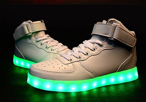LED Chaussures Unisexe Homme Femme Chaussure LED Sports Basket Lumineuse 7 Couleur USB Charge Chaussure Lumineuse Clignotants de enfant Blanc
