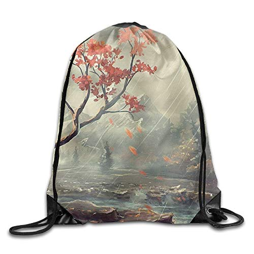 ZHIZIQIU Beautiful Autumn Fallen Leaves In Rainy Day Unisex Outdoor Gym Sack Bag Travel Drawstring Backpack Bag Sox-falle