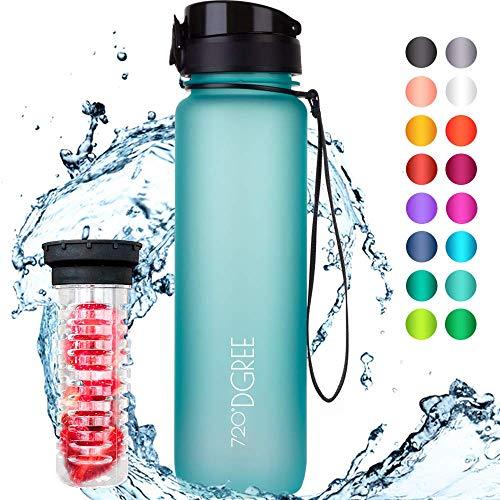 """720°DGREE Trinkflasche \""""uberBottle\"""" - 1 Liter, 1000ml, Blau - Neuartige Tritan Wasser-Flasche - Water Bottle BPA Frei - Ideale Sportflasche für Kinder, Fitness, Fahrrad, Sport, Fussball"""