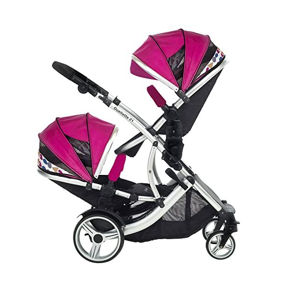 Duellette 21 BS Double Twin Pushchair with 2 footmuffs and Free Changing Bag. Complete with 2 seat units, & 2 rain covers. Dooglebug raspberry. compatible with kids kargo safety pod 0+ car seat Kids Kargo Various seat positions. Both seats can face mum (ideal for twins) Suitability Newborn Twins (if used with car seats) or Newborn/toddler. Accommodates 1 or 2 car seats Rain covers 6