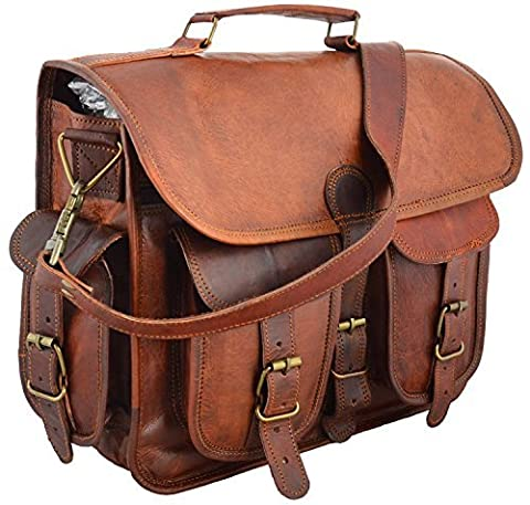 38,1 cm Distressed Leder Laptop Messenger Bag Computer Fall Schultertasche für Herren und Damen (Brown Leather Messenger Bag)