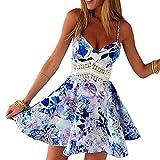 Minetom Damen Sexy Sommerkleid kurz Ärmellos V-Ausschnitt Spitze Spleiß strandkleider Rock Partykleid Cocktaikleid ( Bunt EU M )