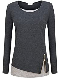 KorMei Damen Langarmshirt Rundkragen Layered Zip Faux Twinset T-Shirt