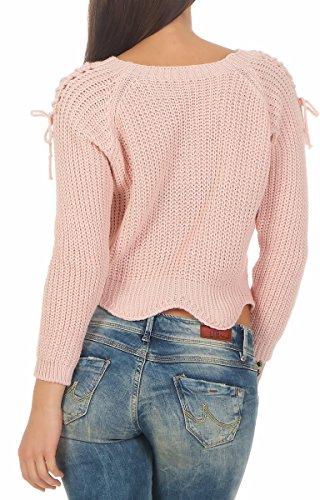 4755 Fashion4Young Damen Pullover Langarm Strickpullover bauchfrei Damenpullover U-Bootausschnitt Rosa