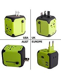 Travel Adapter Adattatore Universale da Viaggio Milool Universal Multipresa Internazionale (US / EU / UK / AUS) Caricatore Doppia Porte USB Multi-nazione per Oltre 150 Courties–Milool (Verde)