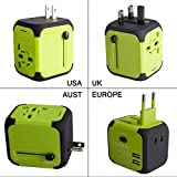Travel Adapter Adattatore Universale da Viaggio con 2 USB 3.0 (US / EU / UK / AU)Caricatore Multifunzioni per Oltre 150 Paesi Internazionale di Potere di Corsa Spina-Milool(176Green)