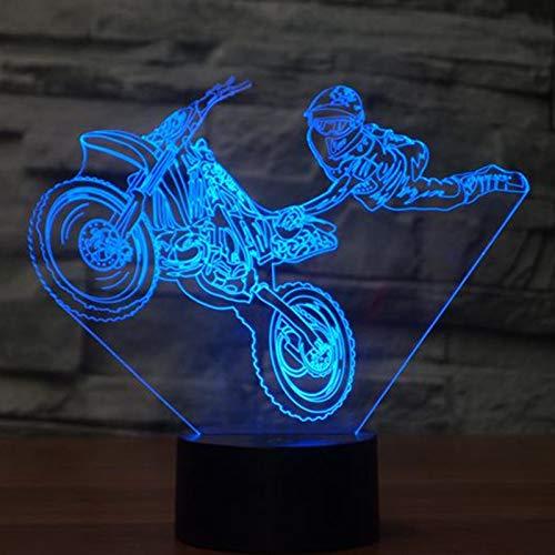 HNXDP Moto acrobacias Lámpara de mesa táctil 7 colores Lámpara de escritorio cambiante Lámpara 3D Novedad Luces de noche LED Luz LED