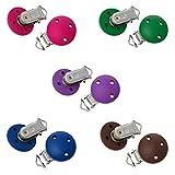 Sadingo Schnullerketten-Clips - 5 Stück - 5 Farben, pink, blau, braun und lila - 4,4 x 2,9 cm - Schnullerkette basteln