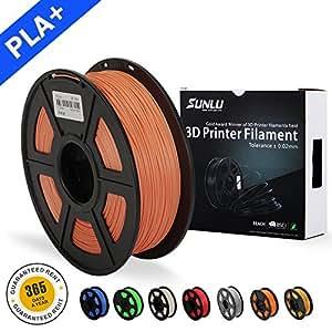 SUNLU 3D Printer Filament PLA Plus, 1.75mm PLA Filament, 3D Printing Filament Low Odor, Dimensional Accuracy +/- 0.02 mm, 2.2 LBS (1KG) Spool 3D Filament for 3D Printers & 3D Pens, Salmon Orange PLA+