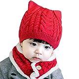 happy event Baby Kleinkind Junge Mädchen Gestrickte Kinder Schöne Weiche Hut + Schal Zweiteiler (A)