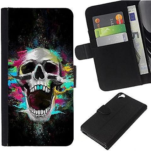 Leather Etui en cuir || HTC Desire 820 || Los dientes del cráneo de neón Scream Esqueleto colorido