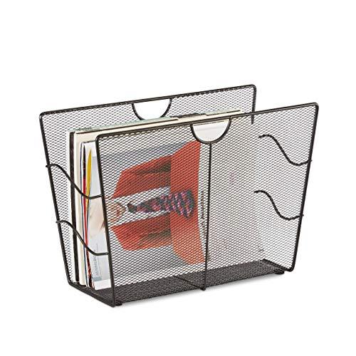 Relaxdays 10022510  Porte-revues en maille métal porte-journaux trieur en maille tressée HxlxP: 27 x 39 x 17 cm , noir