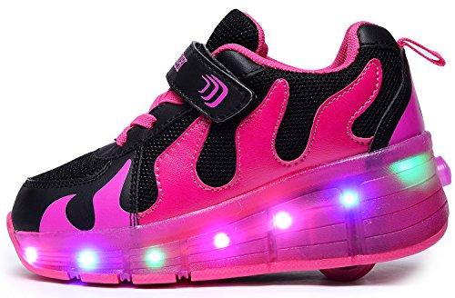 Odema Kinder Junge Mädchen Led Schuhe Mit Rollen Herren Skateboard Rollschuhe mit ein Rad 3 Farbe Farbwechsel Sneaker Schwarz Rosa