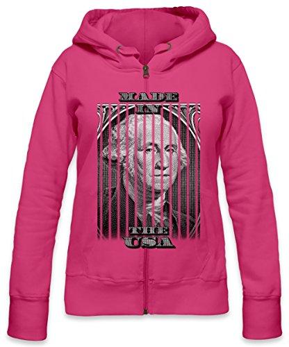 Made In The USA America President Dollar Womens Zipper Hoodie X-Large - Rosa Lil Shirt Wayne