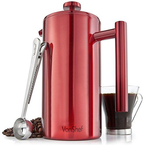 VonShef Pressstempelkanne, Rot 12 Cup/1.5 Litre