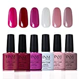 HNM UV LED Nagellack set uv gel shellac set sock off gel peer off nagellack uv farbgel gel nägel Nail Art polish Fell-Effekt Gel 6x7.3ml
