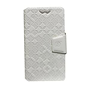 Jo Jo Cover Aarav Series Leather Pouch Flip Case With Silicon Holder For Huawei Honor 3X Pro White