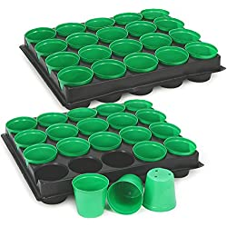 COM-FOUR® 40x Anzuchttöpfe mit Pflanzschalen zum Anzüchten von Pflanzen, Pflanzkasten für 40 Pflanzen, 30,5 x 25,5 x 5,8 cm (40 Stück - Anzuchttöpfe)