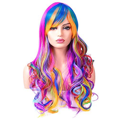 BESTUNG Peluca larga ondulada para mujer, pelo sintético, arco iris natural y colorida peluca con brazaletes para disfraz de cosplay o vida diaria