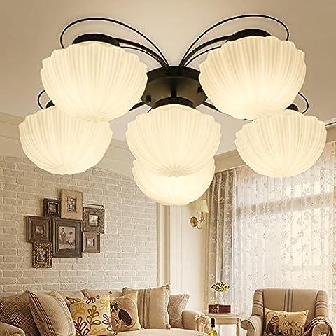 QWER Lampe de plafond suspendu plafond Rural américain Light Chambre Salon Étude Dirigée Stylh aspiration lustres Chambres d'hôtel, munis d'un système d'éclairage à LED Blanc 6 chef) ,70*22cm
