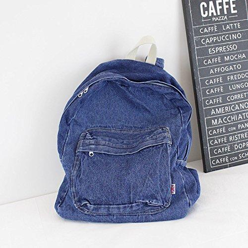 enorme sconto 08832 0929b KEROUSIDEN Retrò zaino Jeans Art Institute di vento zaino in tela semplice  colore puro giovane grande capacità Borsa da viaggio 32cm*40cm*15cm, blu ...