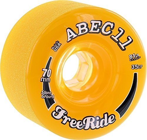 ABEC 11 Ride Stone Ground 70mm 81a Amber/Clear Longboard wheels (Set of 4)