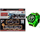 Jmd Impex Black Train Set+Ben 10 Projector Watch For Kids With Bright Light