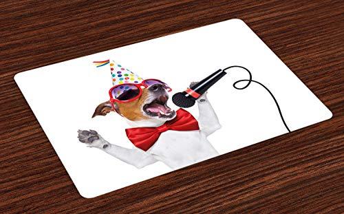 ABAKUHAUS Popstar-Party Platzmatten, Jack Russel Dog mit Sonnenbrille Partyhut und Bowtie Singing Birthday Song, Tiscjdeco aus Farbfesten Stoff für das Esszimmer und Küch, Mehrfarbig