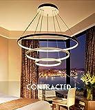 ZMH Moderne LED Pendelleuchte esstisch 148W Led 3-Ring dimmbar Fernbedienung Hängeleuchte Wohnzimmer Deckenleuchte Schlafzimmer Höhenverstehbar Hängelampe Kronleuchter (Durchmesser 1000+800+600mm)