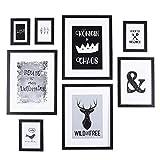 Conjunto de marcos de cuadros de madera de vidrio de alta definición para decoración de paredes y cuadros Decoración de pared Galería de arte en marcos de cuadros, marcos negros - Juego de 8