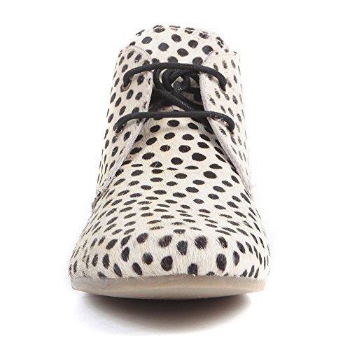 Aspele Hairon - Bottes Imprimé Cheetah en Cuir Plat Beige noir à pois