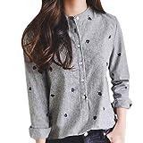 21d078e9ce NPRADLA - Camicia - A Righe - Collo alla Coreana - Manica Lunga - Donna Grau