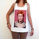 David Bowie red T-Shirt Femme photo de star,Blanc, t shirt femme,cadeau