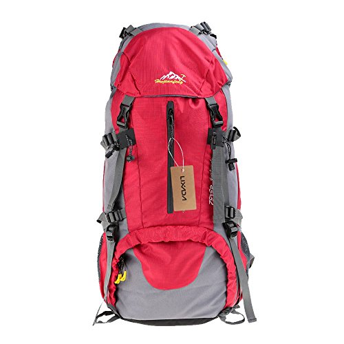 Lixada 50L Waterproof Outdoor Sport Hiking Trekking Camping Travel Backpack Pack Mountaineering Climbing Knapsack with Rain Cover (Red)