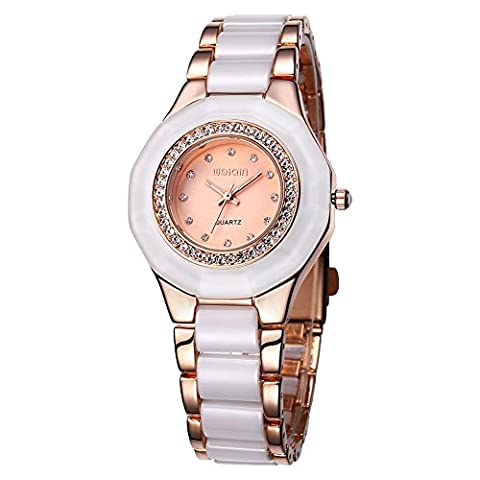 WEIQIN Alloy and Plastic Strap Womens Watch with Rhinestone Bezel and Rhinestone Scale Shell Surface Quartz (Rose gold Rose gold)