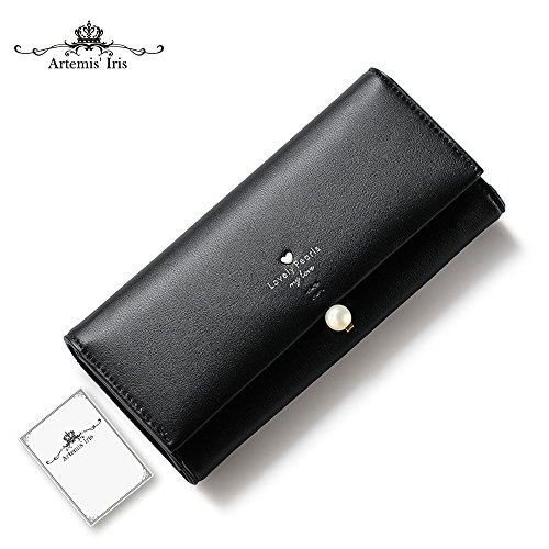 Artemis'Iris Womens perla elegante Agraffe Leather Wallet grande capacità Cards Holder Money Organizer borsa lunga, rosa black