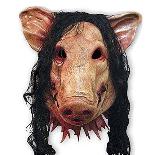 Sunfish Scary Haar und Schweine-Maske Kunststoff Schwein Für Halloween und Maskenspiel Für Erwachsene (Schwein Kunststoff Maske)