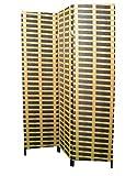 Biombo Separador de ambientes, 3 Paneles, Bambú Natural y Papel Trenzado Natural. con Patas de Acero 180x135 cm. Hogar y Más