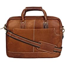 """OMAX Brown 100% Genuine Large Compartment High Quality Tan Leather Messenger Laptop Bag for Men Size 16"""" Office Work Use - LTHRMSN48"""