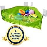 Badespielzeug Aufbewahrung - 4 Starke Stücke Haken - Badewannen Spielzeugnetz Organizer - Ecke Dusche Caddy Hängetasche für Kinder und Kleinkinder - Badezimmerkorb für Babys Jungen und Mädchen